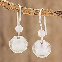 Rose quartz dangle earrings, 'Pink Octagon' - Octagonal Rose Quartz Dangle Earrings from Guatemala