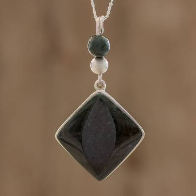 b67cdd588a6e7 Dark Green Jade Pendant Necklace from Guatemala, 'Dark Green Mayan Rhombus'