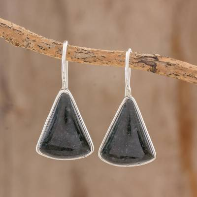 Jade drop earrings, 'Dark Green Mayan Triangles' - Dark Green Triangular Jade Earrings from Guatemala