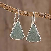 Jade drop earrings, 'Apple Green Mayan Triangles' - Apple Green Triangular Jade Earrings from Guatemala