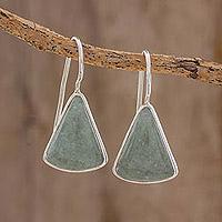 Jade drop earrings, 'Apple Green Mayan Triangles'