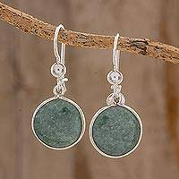 Jade dangle earrings, 'Green World of Jade' - Circular Green Jade Dangle Earrings from Guatemala