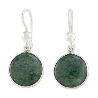 Jade dangle earrings, 'Green World of Jade' - Circular Green Jade Dangle Earrings from Guatemala
