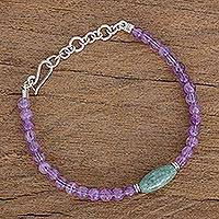 Jade and amethyst beaded bracelet, 'Traditional Maya' - Jade and Amethyst Beaded Bracelet from Guatemala