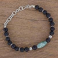 Jade beaded bracelet, 'Folkloric Maya' - Jade and Lava Stone Beaded Bracelet from Guatemala