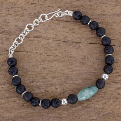 4fbc3dcf3b Jade and Lava Stone Beaded Bracelet from Guatemala - Folkloric Maya ...