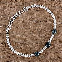 Jade and cultured pearl beaded bracelet, 'Mayan Combination' - Jade and Cultured Pearl Beaded Bracelet from Guatemala