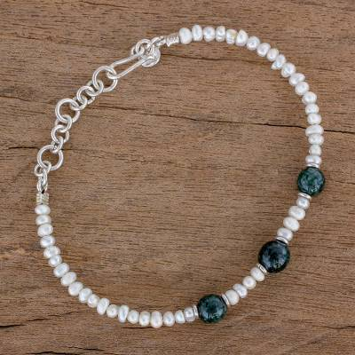 e1c6351a2a Jade and Cultured Pearl Beaded Bracelet from Guatemala - Mayan ...