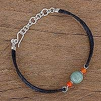 Jade and agate pendant bracelet, 'Ancient Trio' - Jade and Agate Pendant Bracelet from Guatemala