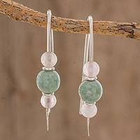 Jade and rose quartz drop earrings, 'Apple Green Mayan Earth' - Apple Green Jade and Rose Quartz Earrings from Guatemala