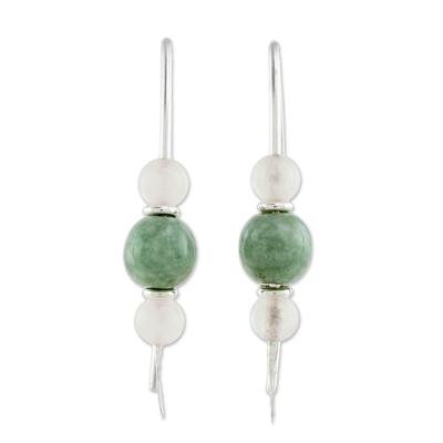 Jade and rose quartz drop earrings, 'Apple Green Mayan Earth' - Apple Green Jade and Rose Quartz Earrings from Guatemala