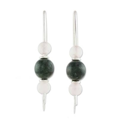Dark Green Jade and Rose Quartz Earrings from Guatemala