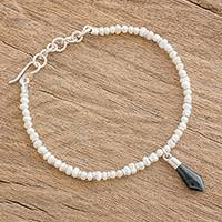 Cultured pearl and jade beaded bracelet, 'Sharp Style' - Cultured Pearl and Jade Spearhead Beaded Bracelet