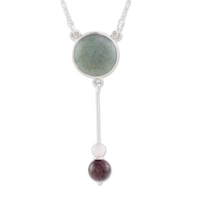 Jade pendant necklace, 'Apple Green Mayan Pendulum' - Apple Green Jade Rose Quartz and Garnet Pendant Necklace