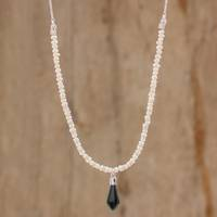 Jade and cultured pearl beaded pendant necklace, 'Dark Pendulum' - Jade and Cultured Pearl Beaded Pendant Necklace