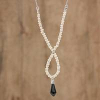 Jade and cultured pearl beaded pendant necklace, 'Jade Light' - Jade and Cultured Pearl Twisted Beaded Pendant Necklace