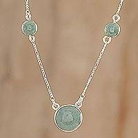 Apple Green Circular Maya - Apple Green Jade Pendant Necklace from Guatemala