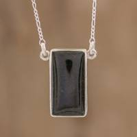 Reversible jade pendant necklace, 'Black Door' - Black Jade Reversible Pendant Necklace from Guatemala
