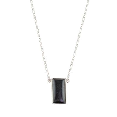 Reversible jade pendant necklace, 'Black Door' - Black Jade Reversible Pendant Necklace from Guatemala
