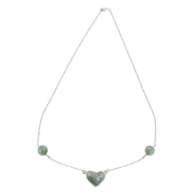 Jade pendant necklace, 'Me and You in Apple Green' - Apple Green Heart-Shaped Jade Necklace from Guatemala