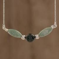 Jade pendant necklace, 'Verdant Wings'