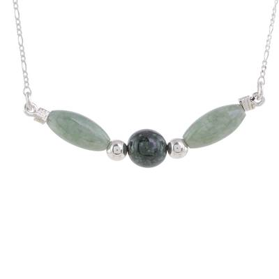 Jade pendant necklace, 'Verdant Wings' - Sterling Silver Dark and Pale Jade Bead Pendant Necklace