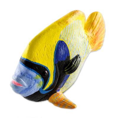 Ceramic Emperor Angelfish Figurine from Guatemala
