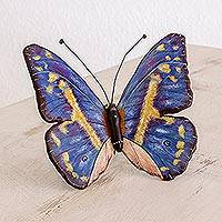 Ceramic sculpture, 'Morpho Butterfly' - Ceramic Morpho Butterfly Sculpture from Guatemala