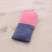 Cotton eyeglasses case, 'Bicolor Beauty' - Cotton Eyeglasses Case in Pink and Blue from Guatemala