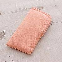 Cotton eyeglasses case, 'Blushing Beauty' - Cotton Eyeglasses Case in Blush from Guatemala