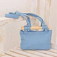 Cotton handbag, 'Cerluean Sky' - Handwoven Cotton Handbag in Cerulean from Guatemala