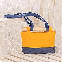 Cotton handbag, 'Marigold Sunset' - Cotton Handbag in Marigold and Azure from Guatemala