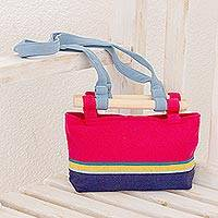 Cotton handbag, 'Cerise Companion' - Cotton Handbag in Cerise with Colorful Stripes