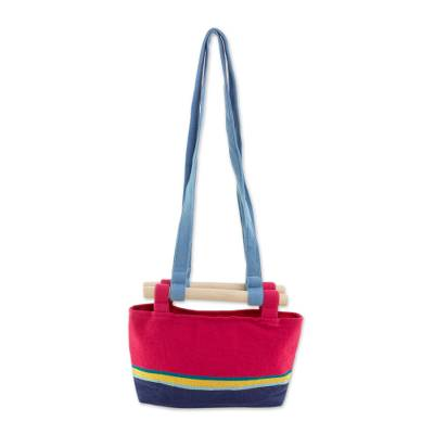 Cotton Handbag in Cerise with Colorful Stripes