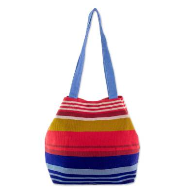 Novica Cotton shoulder bag, Bicolor Beauty