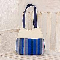 Cotton shoulder bag, 'Lake Stripes' - Handwoven Striped Cotton Shoulder Bag from Guatemala