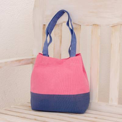 Cotton shoulder bag, 'Bicolor Beauty' - Cotton Shoulder Bag in Pink and Blue from Guatemala