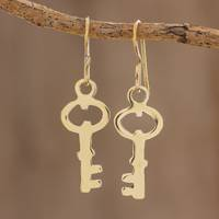 Brass dangle earrings, 'Magic Key' - Handcrafted Brass Key Dangle Earrings from Guatemala