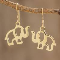 Brass dangle earrings, 'Celebrating Elephants' - Handcrafted Brass Elephant Dangle Earrings from Guatemala