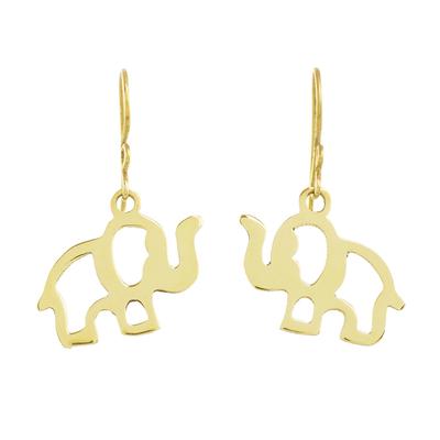 Brass dangle earrings, 'Celebrating Elephants' - Handcrafted Brass Elephant Dangle Earrings from Guatemala