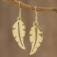 Brass dangle earrings, 'Twirling Leaf' - Handcrafted Brass Leaf Dangle Earrings from Guatemala