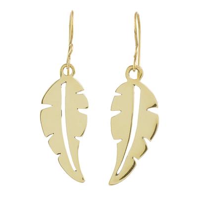 Brass dangle earrings, 'Twirling Leaf' - Handcrafted Brass Leaf Dangle Earrings from Guatemala