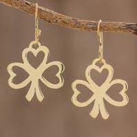 Brass dangle earrings, 'Lucky Hearts' - Handcrafted Brass Heart Shaped Clover Dangle Earrings