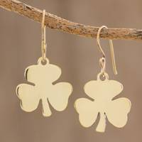 Brass dangle earrings, 'Shining Clover' (large) - Handcrafted Brass Clover Dangle Earrings from Guatemala