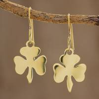 Brass dangle earrings, 'Shining Clover' (small) - Handcrafted Brass Petite Clover Dangle Earrings