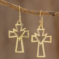 Brass dangle earrings, 'Faith in Spirit' - Handcrafted Brass Cross and Holy Spirit Dangle Earrings