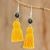 Jade dangle earrings, 'Ancient Orb in Yellow' - Jade and Yellow Tassel Dangle Earrings from Guatemala