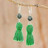 Jade dangle earrings, 'Ancient Orb in Green' - Jade and Green Tassel Dangle Earrings from Guatemala