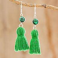 Malachite dangle earrings, 'Green Tassels' - Malachite and Green Tassel Dangle Earrings from Guatemala
