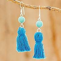 Reconstituted turquoise dangle earrings, 'Sky Tassels' - Recon Turquoise and Blue Tassel Earrings from Guatemala